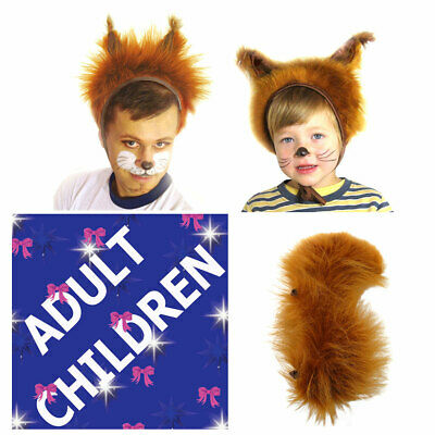 Squirrel Fancy Dress Set Hat & Tail for Children& Adult Carnival Party Halloween