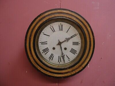 ANTIQUE EARLY 1900's FRENCH KITCHEN WALL DIAL CLOCK RESTORATION PROJECT CHIMES