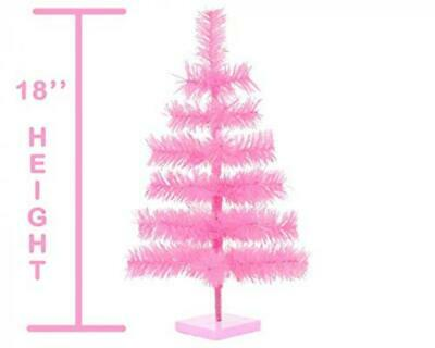 """18 """" Pink Christmas Tree Table Top Centerpiece Small Barbie Pink Tinsel Branch"""
