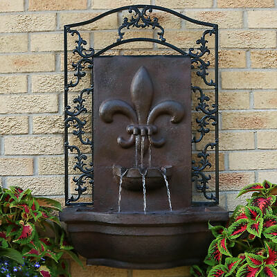 Sunnydaze French Lily Solar Outdoor Wall Fountain with Battery Pack - Iron