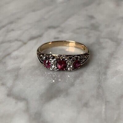Antique Victorian 18ct Gold Diamond And Ruby Ring Ornate Setting Solid Gold
