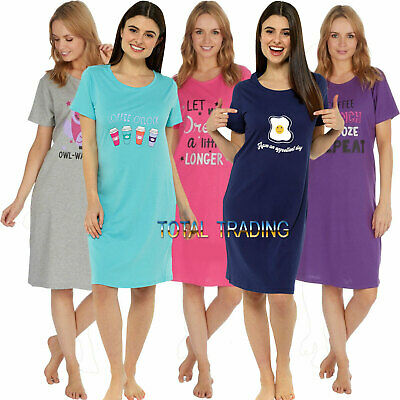Ladies WOMENS Night Shirt Nightdress womens Nightie Nightshirt slogan PYJAMAS