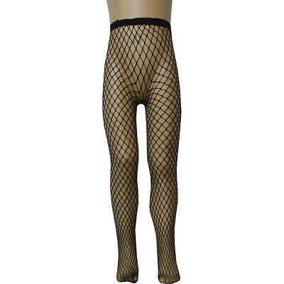 Girls Fishnet Dance Ballet Seamless Tights Halloween Black Large Net Size NEW