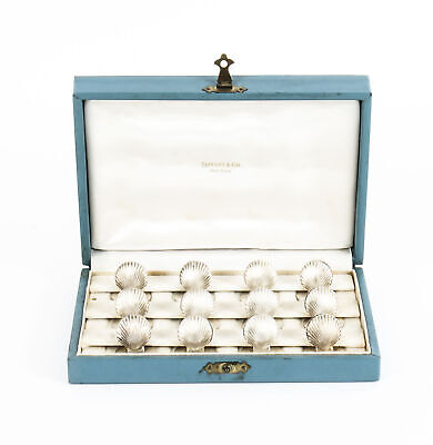 Antique Sterling Silver Set 12 Place Card Holders Boxed Tiffany Mid 20th Century