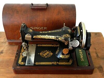 Antique Vintage Singer Hand Crank Sewing Machine Bentwood Case & Key