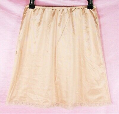 VTG Warner's shiny Beige Satin NYLON Scalloped Lace Half Slip Skirt sz L