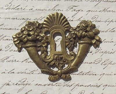 Antique French escutcheon  Vintage gilded bronze decorative key hole cover
