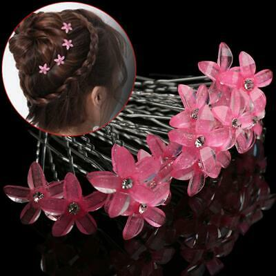 5PCS Exquisite Wed Bridal White Flower Hair Pin Rhinestone Crystal Clip