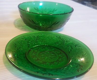 Forest Green Sandwich Glass Bowl And Saucer Anchor Hocking