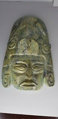 VTG Mexican Mayan Marble Mask Face Aztec Carved Hanging Pre-Columbian STUNNING
