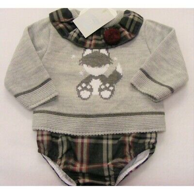 Baby Boys Girls Spanish Romany Set Tartan Jam Pants & Knitted Fox Jumper Outfit