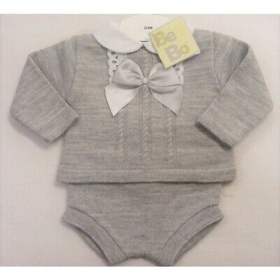 Baby Girl Boy Spanish Style Romany Set Grey Bow Knitted Jumper Jam Pants Outfit