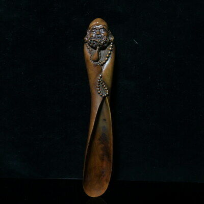 Collectable Handwork Boxwood Carving Old Man Take Hand Catenary Beautiful Statue