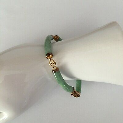 New with Tags Vtg Estate Chinese Green Jade Jadeite Gold Tennis Bangle Bracelet