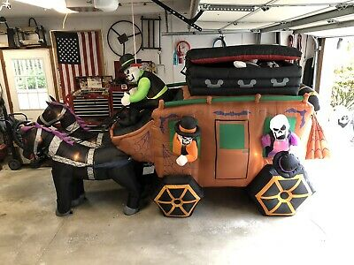 Halloween Inflatable Airblown Huge Animated Stagecoach