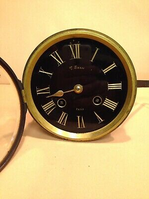 French Antique? Clock T. Shaw Paris Black Dial Machinery Movement Spares Repairs