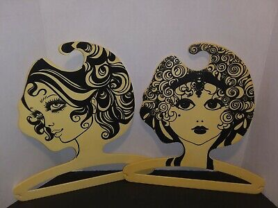 2 Fashion Model Face Vintage Dress Clothes Hanger Milano Italy Boutique