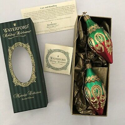 Waterford Holiday Heirlooms Peacock Grande Icicles Set of 2 Christmas Ornament