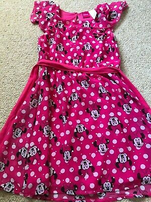Disney Minnie Mouse bow sequin pink girls dress Small 5 6 6X 7 CUTE!