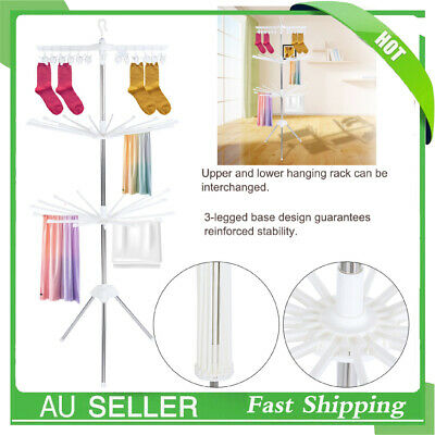 Clothes Line Airer Rack Indoor 3 Tier Steel Drying Space Foldable Portable NEW