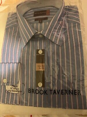 "Brook Tavener Men's Blue Striped Shirt Brand New In Wrapping. 16"" Collar."