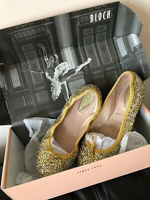 Bloch Girls Glitter Glitz Gold Sparkle Ballet Flats Party Shoes Size 36 3