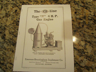 1918 Emerson Brantingham 4HP Type N Engine Sales/Info  Manual