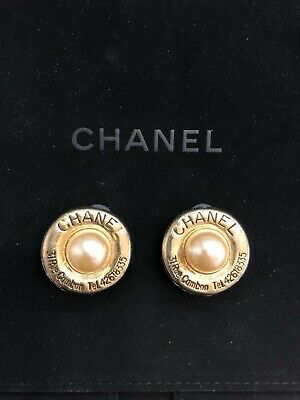 Authentic Chanel Vintage CC Earrings Ear Clip Gold Round Pearl White