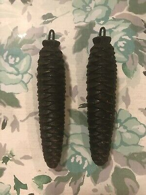 Pair of VTG Pine Cone Weights for Cuckoo Clock 4 inches long German 8.5 Oz