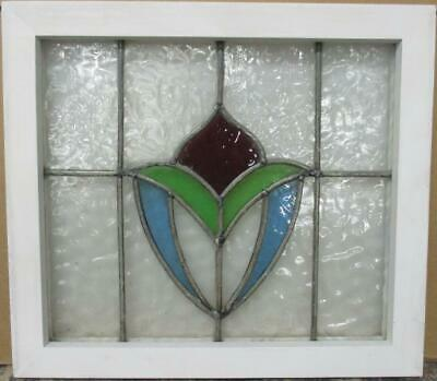 "OLD ENGLISH LEADED STAINED GLASS WINDOW Gorgeous Abstract Design 19"" x 17"""