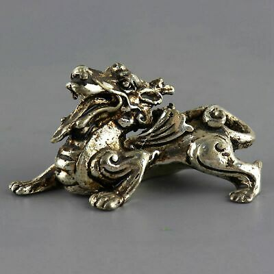Collect Old Tibet Silver Hand-Carved China Myth Kylin Moral Bring Luck Statue