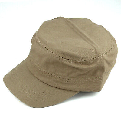 New Men Women 100% Cotton Army Military Hat Cadet Patrol Style Classic Cap Brown