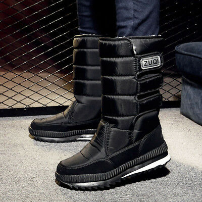 L&M Men's Black Winter Snow Boots Shoes Warm Thermolite Waterproof 2008
