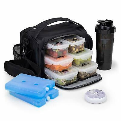 Lunch Box Insulated Meal Prep Food Containers Bag Black Snacks Drinks Storage