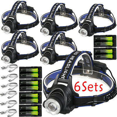 6x 150000LM T6 LED Headlamp Zoomable Rechargeable Headlight Lamp +18650 +Charger