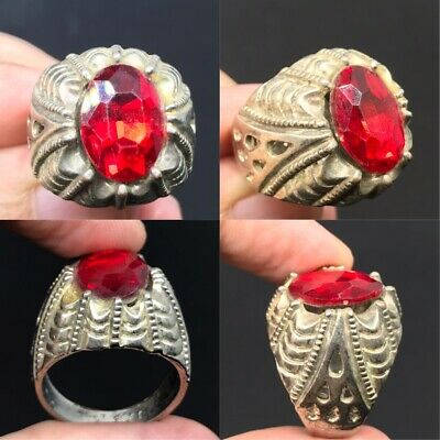 Extremely rare ancient old Roman ring with beautiful Red Crystal Stone