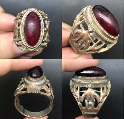 Old wonderful unique medieval stone stunning ring
