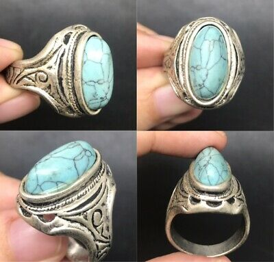 Medieval old silver beautiful ring with turquoise stone