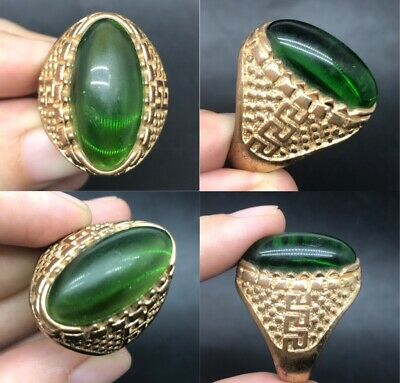 natural green stone old yamin wonderful ring
