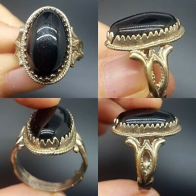 Beautiful black stone silver plated lovely ring