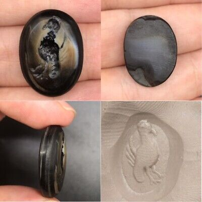 Antique luqme agate peacock intaglio seal stone