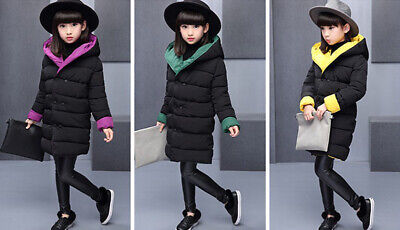 Kids Outerwear Warm Long Sleeve Tops Toddler Winter Thicken Coat Girls Hooded
