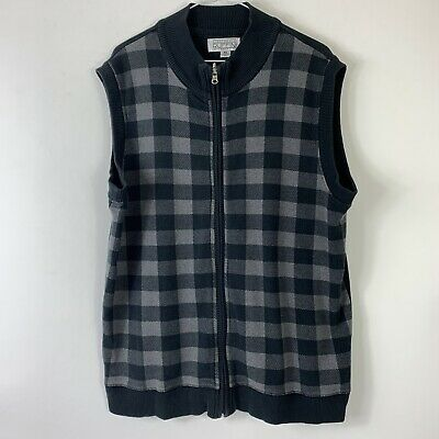 Gianfranco Ruffini Italy Mens XL Full Zip Sweater Vest Black Gray Plaid Checked