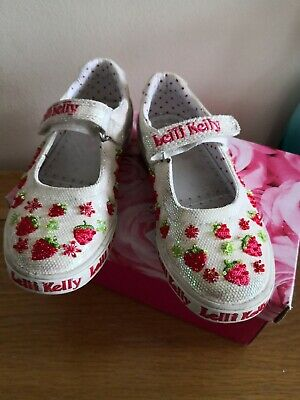 Lelli Kelly leather Canvas Beaded Pump Shoes Infant Size 11 EUR29 Good Condition