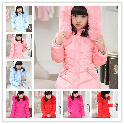 Kids Winter Padded Warm Outerwear Tops Girls Hooded Coats Jackets Children Tops