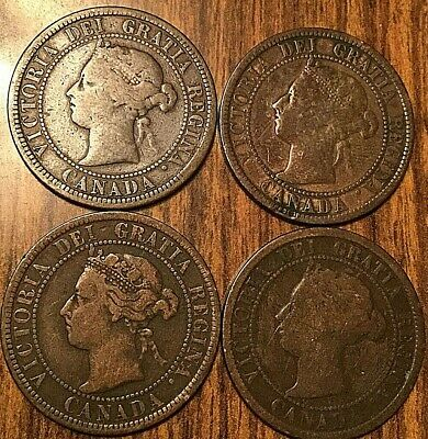 Lot Of 4 Canada Large Cent Penny Lot Of 4 Coins