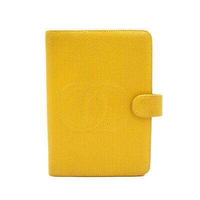 Authentic CHANEL CC Logo Agenda Day Planner Cover Mustard Caviar Skin #S310006