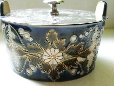 Antique Doulton Lambeth Stone &Silver Plated Lidded Bowl C.1880 No 657 Signed RH