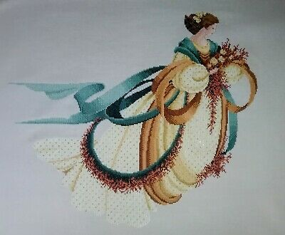 Lavendar & Lace - Angel of Autumn - completed cross stitch