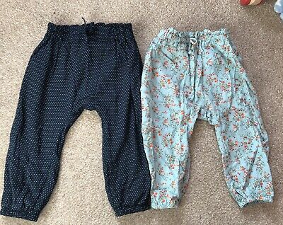 X2 Girls Trousers Age 9-12 Months From Next